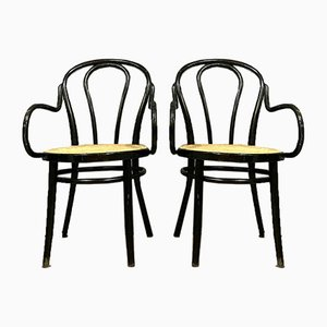 Curved Wooden Armchairs, 1930s, Set of 2