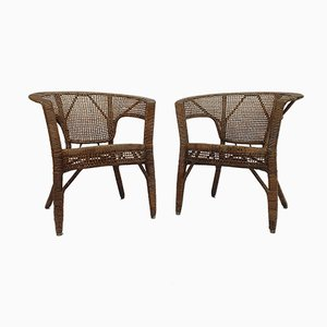 Wicker Armchairs, 1950s, Set of 2