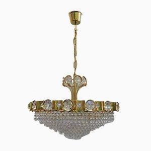 Lampada da soffitto grande in cristallo di Palwa, anni '70