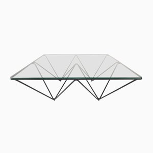Metal and Glass Coffee Table in the Style of Paolo Piva, 1980s
