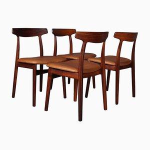 Palisander Esszimmerstühle von Henning Kjærnulf, 4er Set
