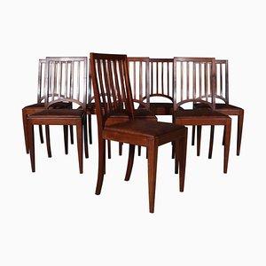 Dänische Mahagoni Tischlerstühle, 8er Set