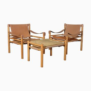 Model Scirocco Safari Chairs with Ottoman by Arne Norell, Set of 3