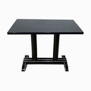 Art Deco Bistro or Side Table in Black Lacquer & Aluminum Trims, France, 1930s