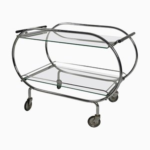 Art Deco Mobile Serving Trolley in Chromed Tubular Steel & Glass, France, 1925