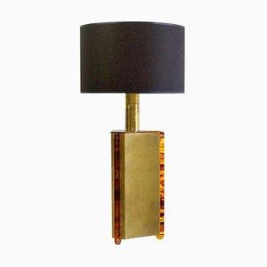 Italienische Tischlampe in Kunstschildkröte & Messing, 1970er
