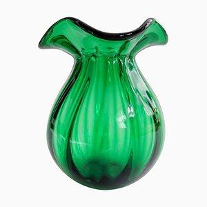 Jarrón sueco de vidrio esmeralda verde