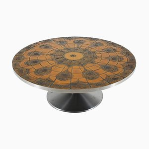 Round Tile-Top Coffee Table by Lilly Just Lichtenberg for Poul Cadovius, 1960s