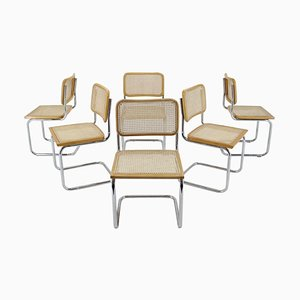 Italian Chrome-Plated & Wood Dining Chairs, 1970s, Set of 6