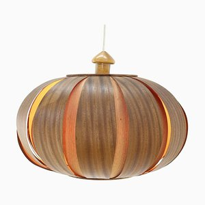 Large Mid-Century Wooden Veneer Pendant from Úluv, 1960s