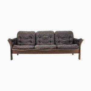 3-Sitziges Sofa aus dunkelbraunem Leder von Georg Thams, Dänemark, 1970er