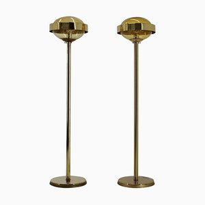 Preciosa Gold Floor Lamps, Czechoslovakia, Set of 2