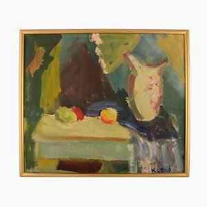 Evgenij Klenø, Denmark, Oil on Canvas, Modernist Still Life, 1960s