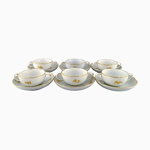 Meissen Bouillon Cups with Saucers in Porcelain with Flowers and Foliage, Set of 12
