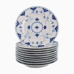 Blau Gerippte Volle Lace Teller aus Perforiertem Porzellan von Royal Copenhagen, 10er Set