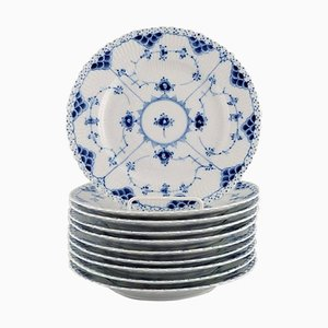 Blue Fluted Full Lace Plates in Openwork Porcelain from Royal Copenhagen, Set of 10