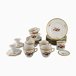 Brown Rose Coffee Service for Six People from Royal Copenhagen, 1960s, Set of 22