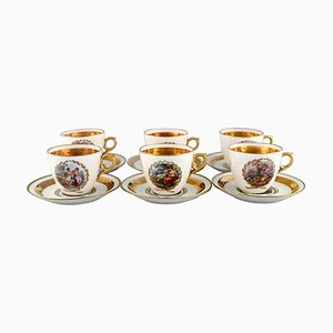 Porcelain Coffee Cups with Saucers with Romantic Scenes from Royal Copenhagen, Set of 12