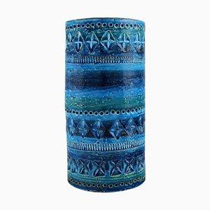 Zylindrische Vase aus Rimini blau glasierten Keramiken von Aldo Londi für Bitossi, 1960er