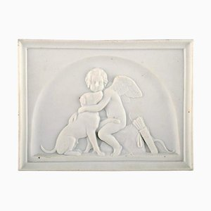 Antique Biscuit Wall Plaque of Cupid and Dog