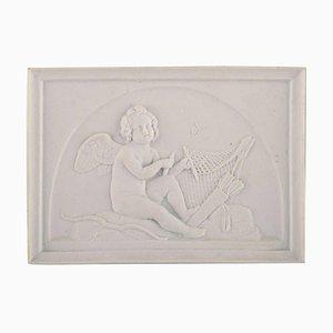 Antique Biscuit Wall Plaque of Cupid from Royal Copenhagen
