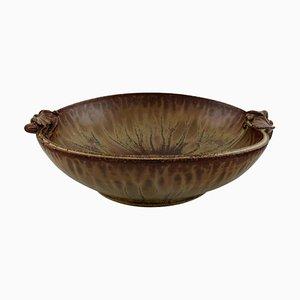 Glasierte Keramik Schale mit Blattwerk von Arne Bang, Dänemark, 1940er