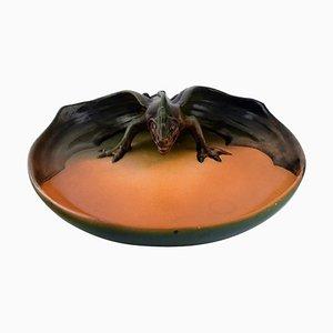 Glasierte Keramikschale mit Libelle von Ipsens, Dänemark, 1920er