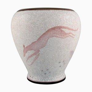 Vaso grande Bing e Grøndahl in porcellana screpolata con animale che salta, anni '20