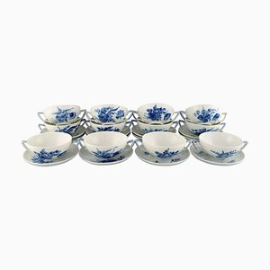 12 Blue Flower Braided Bouillon Cups with Saucers, Set of 24