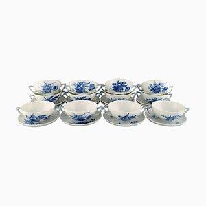12 vasos de calisier trenzados en azul con platillos. Juego de 24