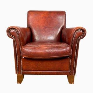 Dunkelbrauner Vintage Armlehnstuhl aus Schafsleder