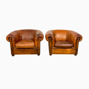 Large Vintage Club Chairs by Nico Van Oirschot in Sheep Leather, Set of 2