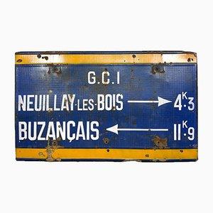 Vintage French Industrial Enamel Bus Station Sign