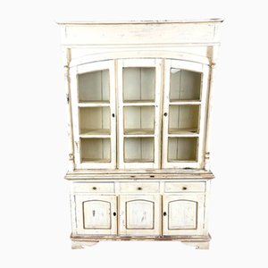 Vintage White Painted Kitchen Display Cabinet