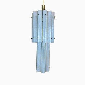 Grande Lampe à Suspension en Verre Givré Murano, 1960s