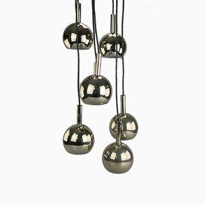 Lámpara colgante de cromo, años 60