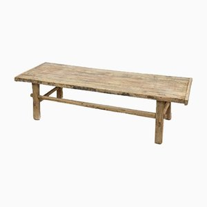 Large Antique Rustic Elm Coffee Table