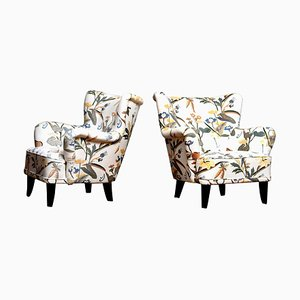 Josef Frank Fabric Lounge Easy Chairs by Ilmari Lappalainen for Asko, Set of 2