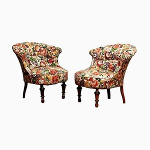19th-Century French Floral Napoleon III Emma Slipper Chairs, Set of 2