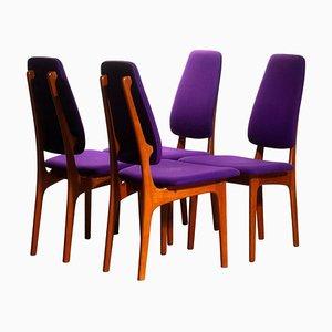 Schmale Teak Esszimmerstühle mit Hoher Rückenlehne von Erik Buch für OD Möbler, 1960er, 4er Set