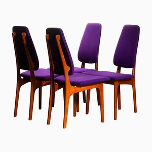 Slim Teak High Back Dining Chairs by Erik Buch for O.D. Möbler, 1960s, Set of 4