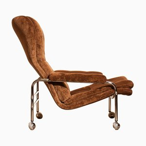 Chrome and Brown Velour Lounge Chair by Sapa Rydaholm, 1970s
