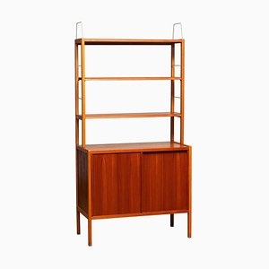Teak, Oak and Brass Bookcase by Bertil Gottfrid Hagen for Bodafors, 1960s