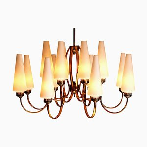Large Brass Chandelier with Large White Murano Glasses from Stilnovo, 1960s