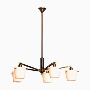 Brass Chandelier With Frosted Glass Shades from Stilnovo, 1950s