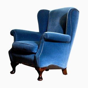Blue Velvet Wingback Armchair, Sweden, 1920s