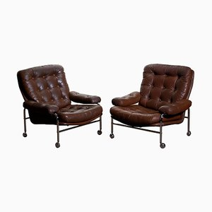Chrome and Brown Leather Lounge Chairs by Scapa Rydaholm, 1970s, Set of 2