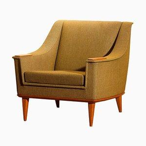 Green Oak Lounge Chair by Folke Ohlsson for DUX, Sweden, 1960s