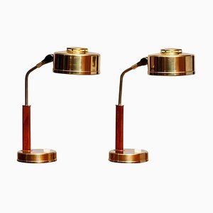 Brass and Teak Desk Lamps by Bjs Skellefteå, 1960s, Set of 2