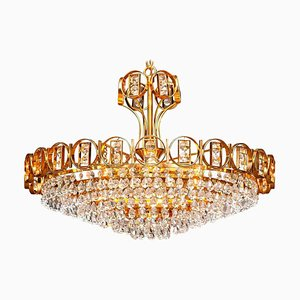 Gold-Plated Brass Chandelier With Faceted Crystals from Palwa, 1970s